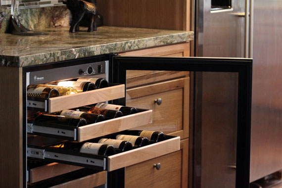 All about wine storage for home tips for storing wine - Kitchens with wine coolers ...