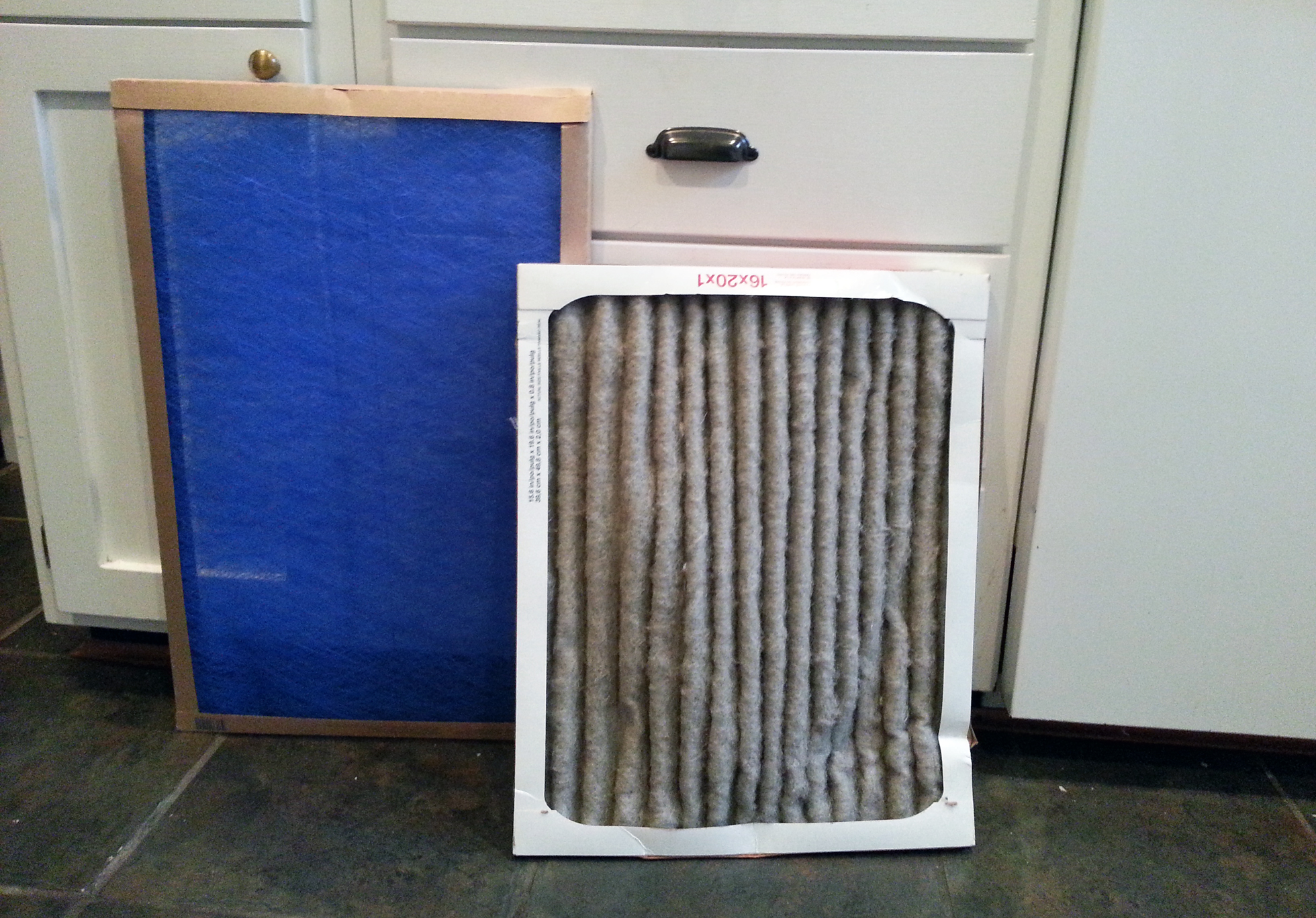 One dirty pleated furnace filter with a clean filter