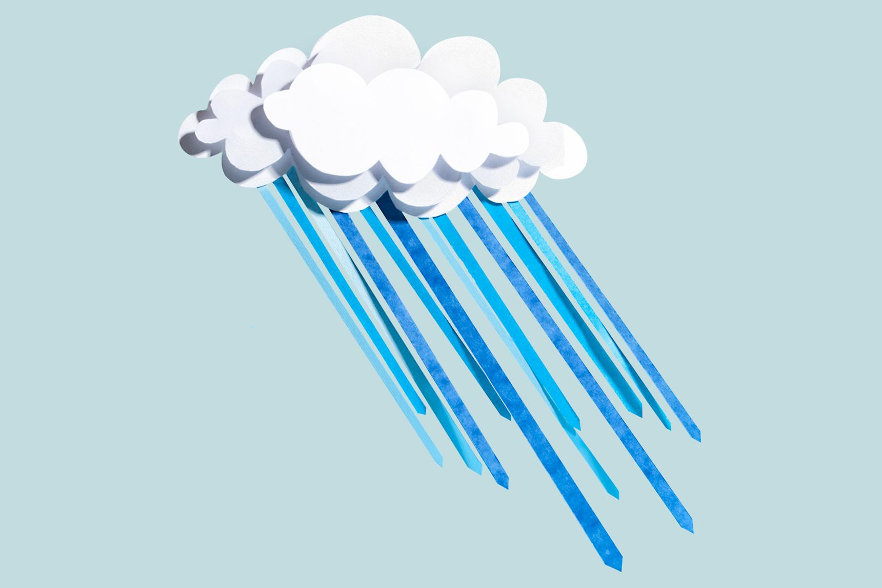 A light blue background with a paper-cut cloud and rain