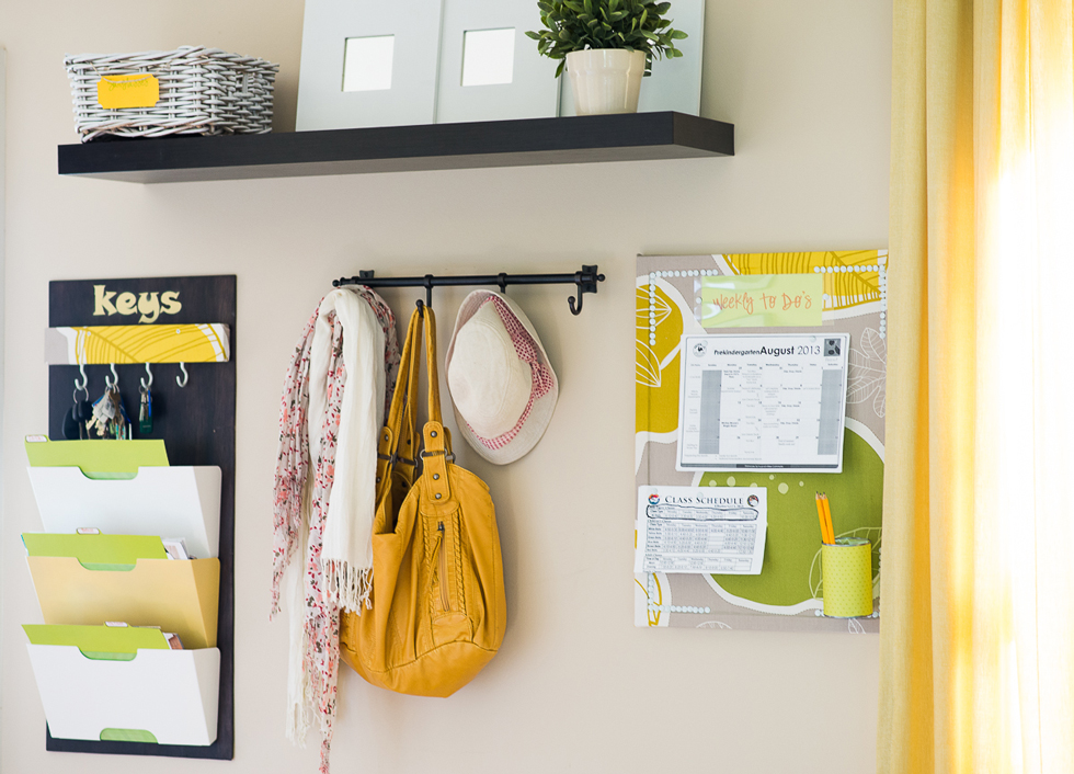 Yellow information station storage in home entryway